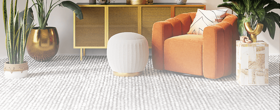 comfortable autumn colour interior with pale woven rug